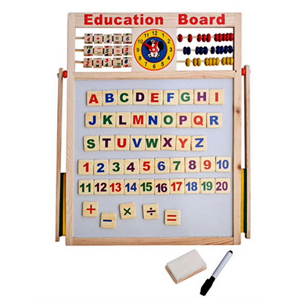 Children Wooden 2 in 1 Blackboard Magnetic Whiteboard Double Sided Drawing Writing Education Board Easel with Marker Pen Chalk 1