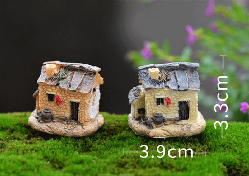 15 Style Mini Small House Cottages DIY Toys Crafts Figure Moss Terrarium Fairy Garden Ornament Landscape Decor Random Color 4