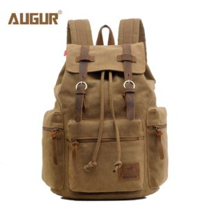 AUGUR New fashion men's backpack vintage canvas backpack school bag men's travel bags large capacity travel laptop backpack bag 1