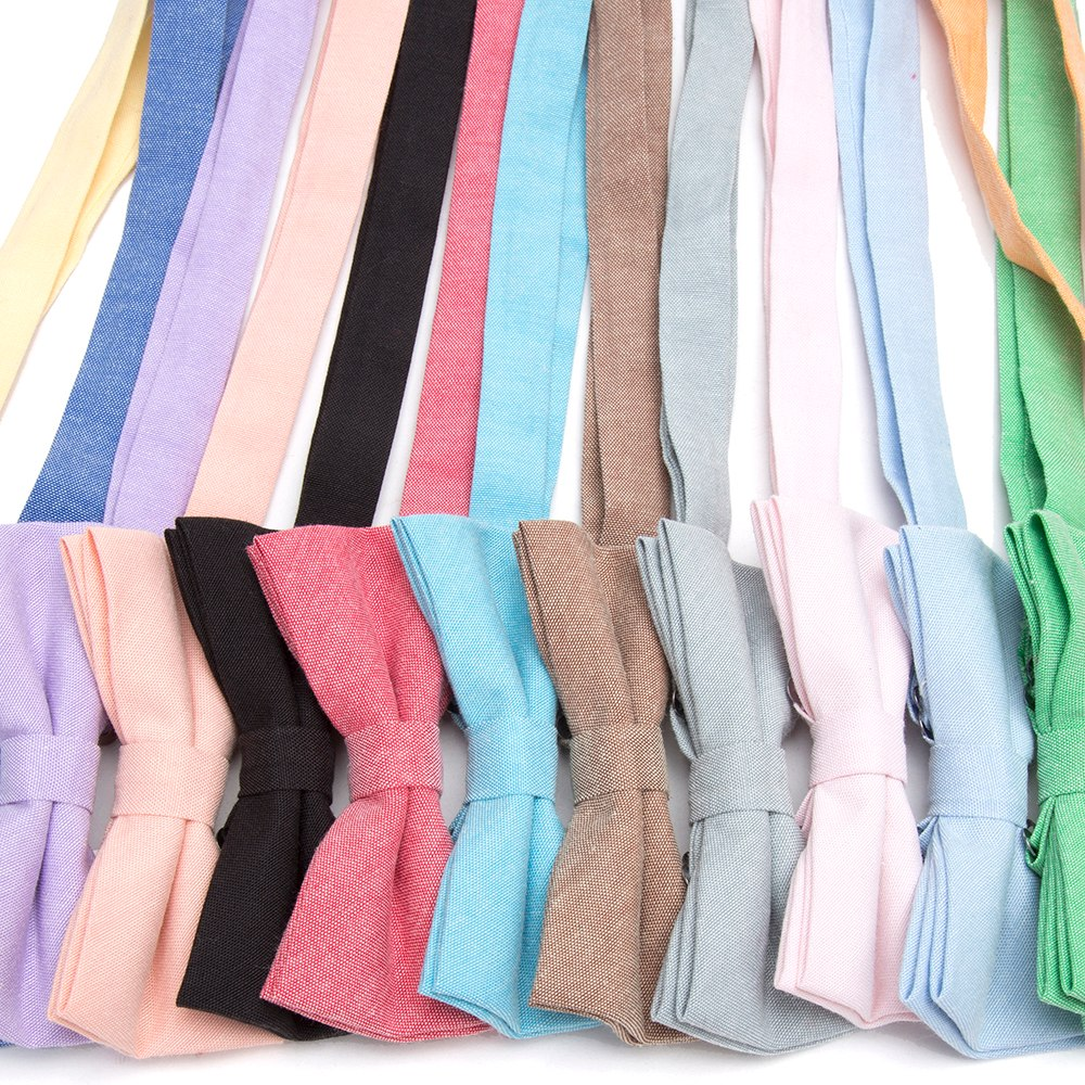 Bowtie 100% Cotton plain dyed Solid Bow Tie Party Accessories Gift Men Adjustable Formal wedding Butterfly Necktie 4