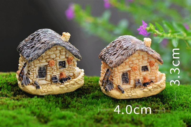 15 Style Mini Small House Cottages DIY Toys Crafts Figure Moss Terrarium Fairy Garden Ornament Landscape Decor Random Color 3