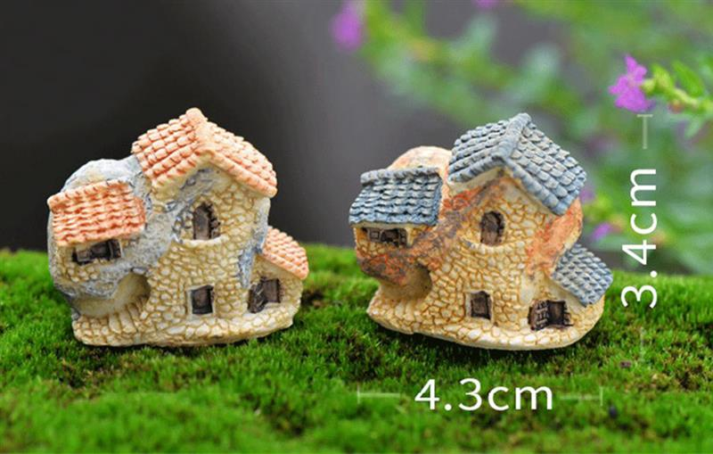15 Style Mini Small House Cottages DIY Toys Crafts Figure Moss Terrarium Fairy Garden Ornament Landscape Decor Random Color 2
