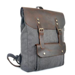 Fashion Backpack Leather Canvas men backpack School Bag Military Backpack Women Rucksack male Knapsack Bagpack mochila New 2018 1