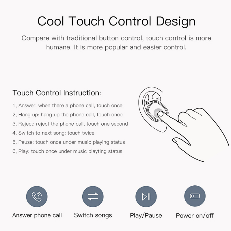 QCY T1 Pro Touch Control Bluetooth Earphones TWS Mini Wireless Headset with Mic Handsfree Music Earbuds and 750mAh charging box 3