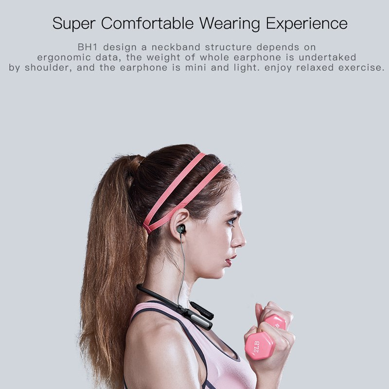 QCY BH1 Bluetooth headphones IPX5 waterproof earbuds sports wireless earphones lightweight neckband headset with Mmicrophone 2