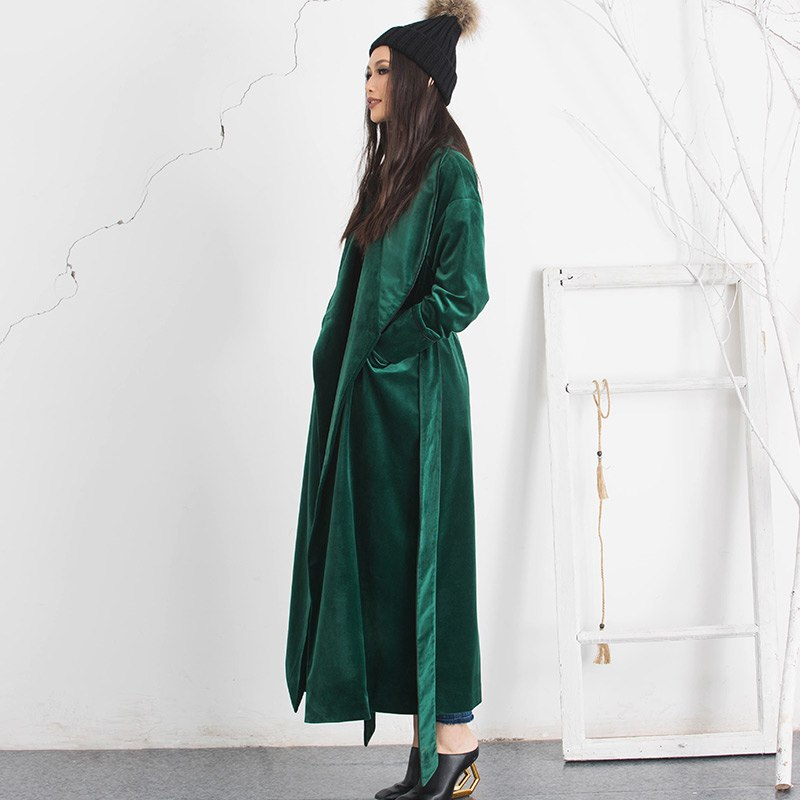 women's long velvet coat