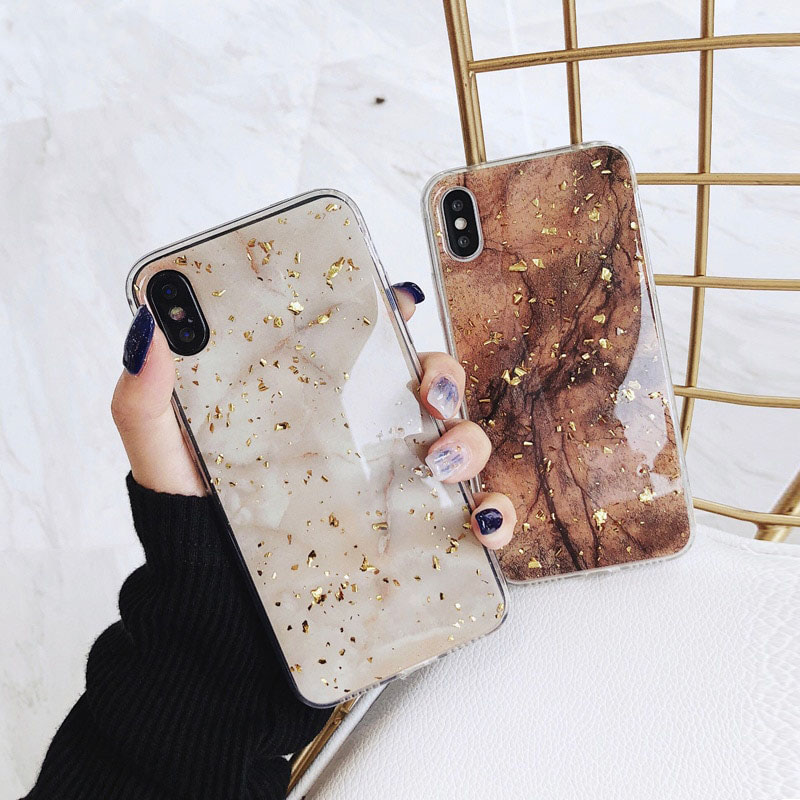 new concept d20d0 467b2 iPhone 6 Plus Case / X, XR, XS, XS MAX, 6, 6s, 6s+, 7, 7+, 8, 8+, Foil  Marble Gold Soft Cover