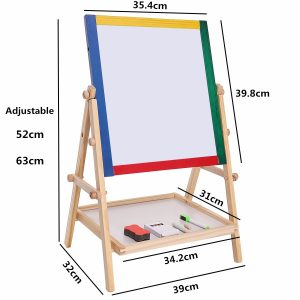 Drawing Board Educational Toy For Children Adjustable Children Kids 2 In 1 Black / White Wooden Easel Chalk 1