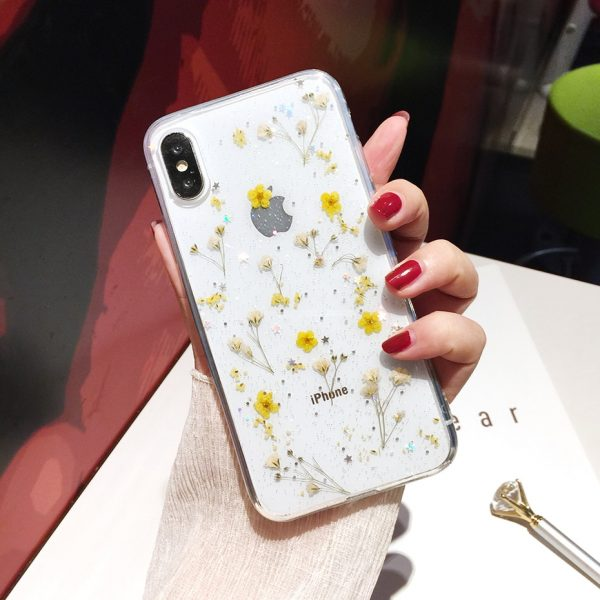 Qianliyao Real Flowers Dried Flowers Transparent Soft TPU Cover For iPhone X 6 6S 7 8 plus Phone Case For iphone XR XS Max Cover 4