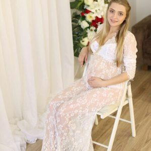 Le Couple Fashion Maternity Dresses Photography Props Summer Beach White Lace Maternity Long Dress Pregnant Photography Dresses 1