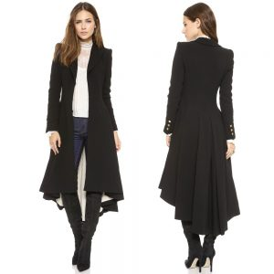 Women Coats Autumn winter swallowtail Black long Trench Dovetail Plus Size 5XL 6XL Female Wool Coat jackets Outwear 2