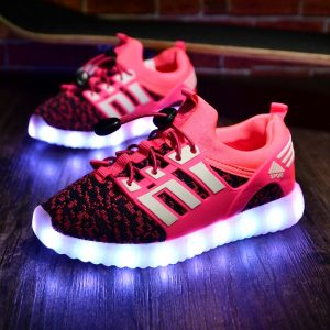 Glowing Children Athletic Shoes with USB rechargeable Kids Led Light up footwear Sneakers for Boys Girls sports Pink Black 1