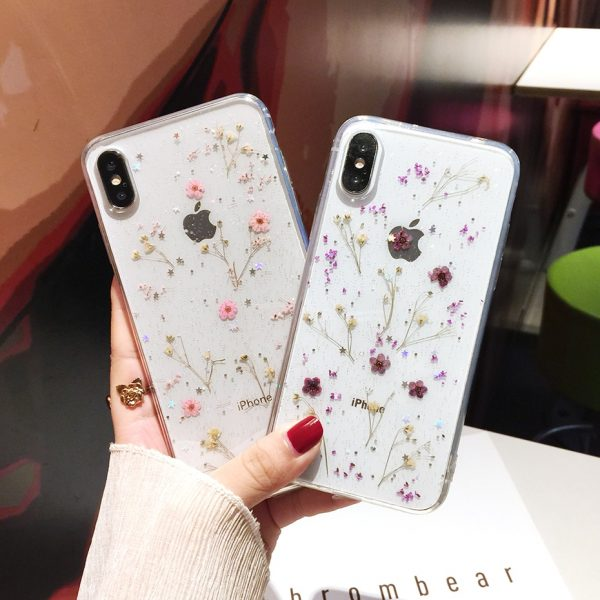 Qianliyao Real Flowers Dried Flowers Transparent Soft TPU Cover For iPhone X 6 6S 7 8 plus Phone Case For iphone XR XS Max Cover 1
