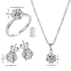 silver wedding jewelry set