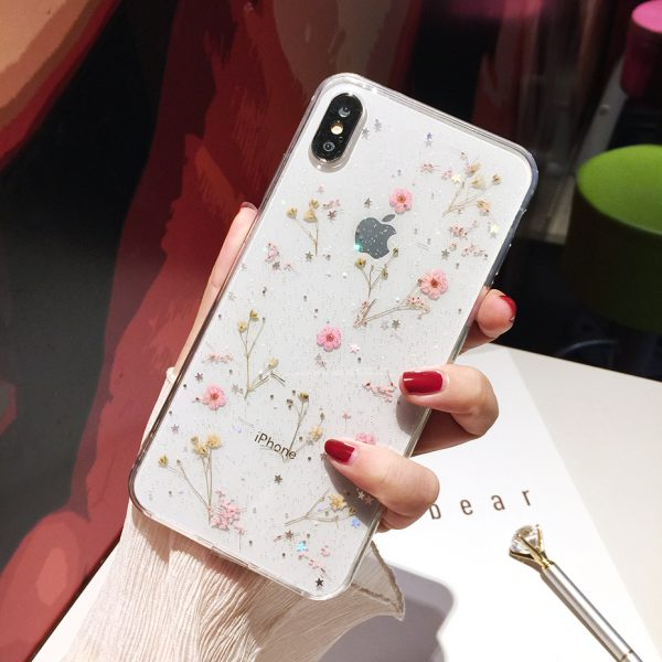 Qianliyao Real Flowers Dried Flowers Transparent Soft TPU Cover For iPhone X 6 6S 7 8 plus Phone Case For iphone XR XS Max Cover 3