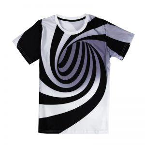 Alisister Black And White Vertigo Hypnotic Printing T Shirt Unisxe Funny Short Sleeved Tees Men/women Tops Men's 3D T-shirt 1