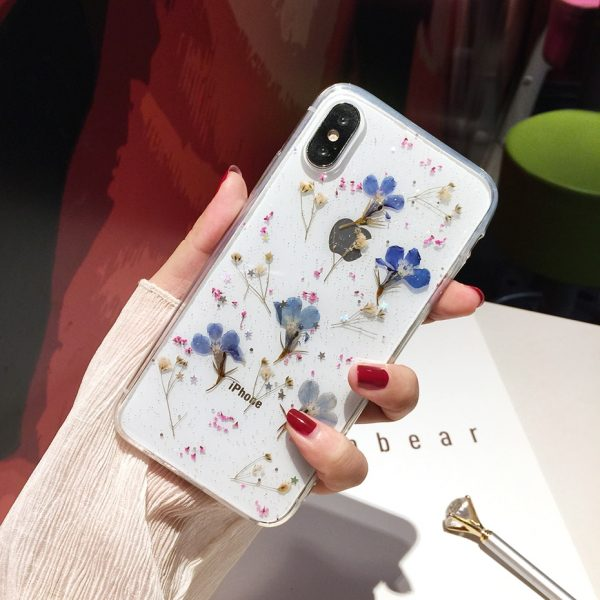 Qianliyao Real Flowers Dried Flowers Transparent Soft TPU Cover For iPhone X 6 6S 7 8 plus Phone Case For iphone XR XS Max Cover 5