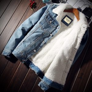 MKASS Men Jacket and Coat Trendy Warm Fleece Denim Jacket 2018 Winter Fashion Mens Jean Jacket Outwear Male Cowboy Plus Size 5XL 1