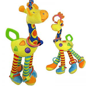 Baby Teether Toys Plush Infant Development Soft Giraffe Animal Handbells