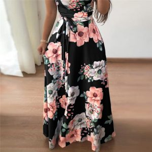 floral turtleneck maxi dress
