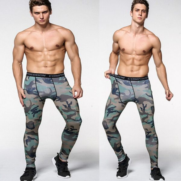 Mens Camouflage Tight trousers Running training compression Quick-drying Gym jogging Fitness pants Men leggings drawers Briefs 4