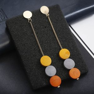 wood tassel earrings