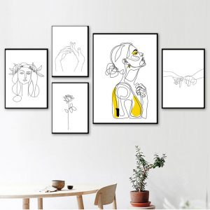 line drawing wall art