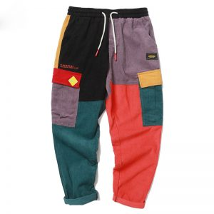 patchwork corduroy pants