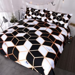 marble print bed cover