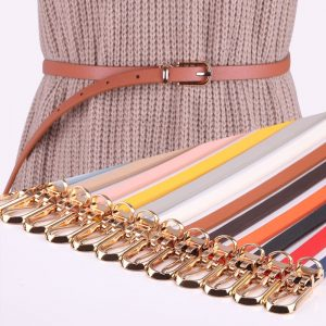 Women adjustable leather dress beltsLeather Belts Candy Color Thin Skinny Waistband Adjustable Belt Women Dress Strap cinturon mujer cinto feminino
