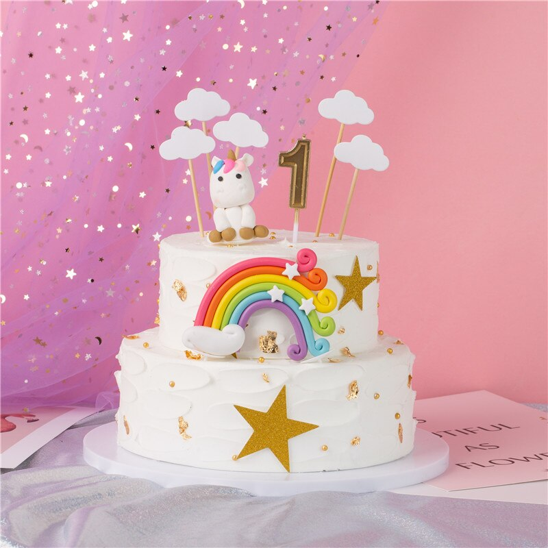 Rainbow cake decorating supplies, unicorn cake topper set