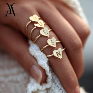 heart initial letter ring