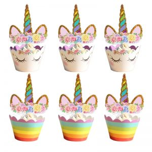 unicorn cupcake wrappers and toppers