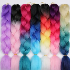 MERISIHAIR Long Ombre Kanekalon Jumbo Synthetic Woven Hair Crochet Yellow Pink Purple Gray Hair Extension Oversized Tweezers