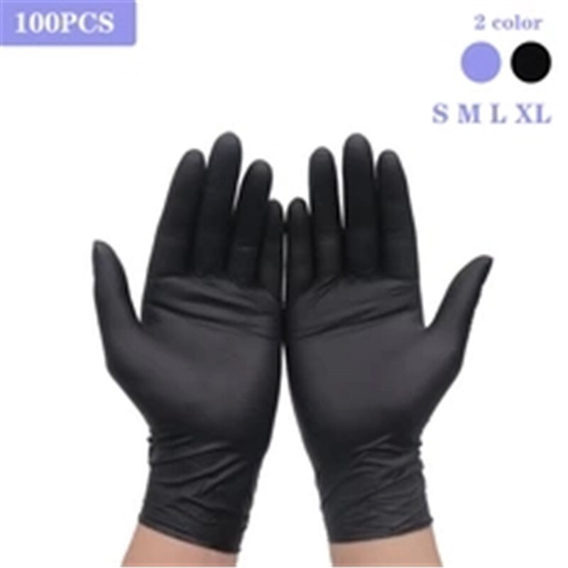 Guantes Nitrilo XL Household Cleaning Washing Disposable Mechanic Gloves Black Nitrile Laboratory Nail Art Anti-Static Gloves
