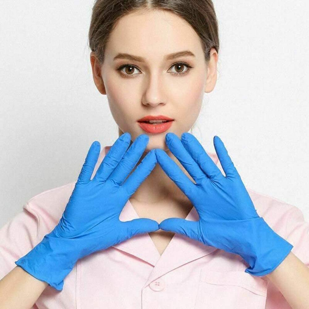 10PCS Blue rubber disposable nitrile gloves anti-skid acid-base laboratory nitrile latex gloves Household cleaning supplies
