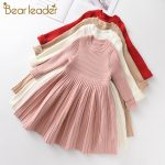 Bear Leader Long Sleeve Sweater Dress Girls Princess Baby Girl Clothes Sweet Tutu Party Dresses Christmas Little Girl Clothes 1
