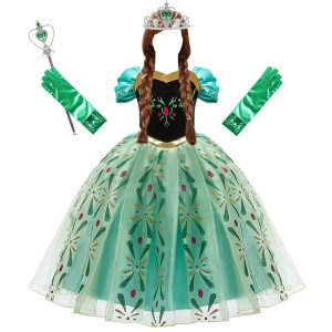 Anna Dress for Girl Cosplay Snow Queen Princess Costume Kids Halloween Clothes Children Birthday Carnival Fancy Party Disguise 1