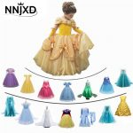 Fancy Girl Princess Dresses Beauty Belle Cosplay Costume Snow Christmas Halloween Princess Dress up Children Party Clothes 1